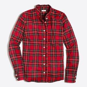 J. Crew   Plaid Ruffle Shirt